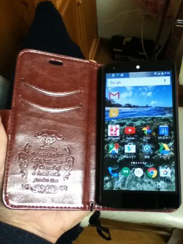 Nexus5手帳型ケース装着後