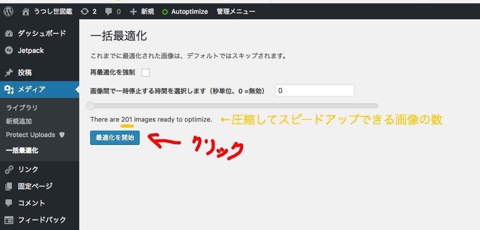 EWWW Image Optimizer 既存の画像を最適化