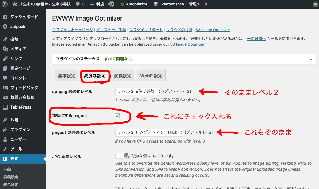 EWWW Image Optimizer 高度な設定