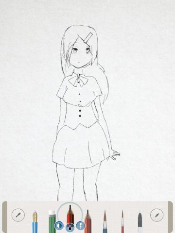 Pen & Inkで下書き練習 女の子