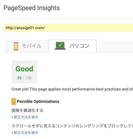 PageSpeed Insights PC