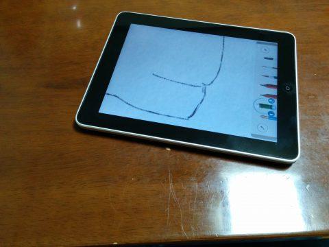 iPadの向きを変えて描く